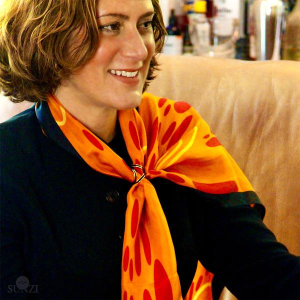 Sunzi Star Dreaming Orange Shawl